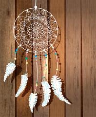 Obraz premium Kolor łapacz snów Indian amerykańskich z ptasimi piórami i florą