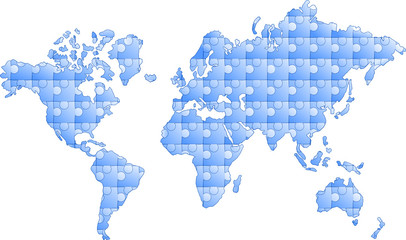 Obraz kontynenty z puzzli - fototapety do salonu