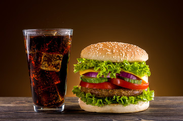 Wall Mural - Homemade burger and coke on the wooden table
