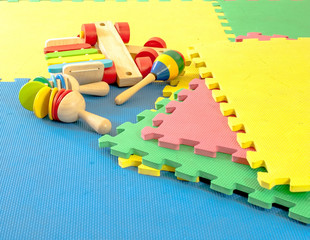 close up toy on  rubber foam  Puzzles