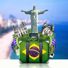 Deurstickers Brazilië Brazil, Brazil landmarks, travel and retro suitcase