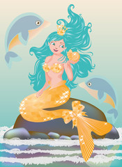 Young mermaid with golden seashell, vector