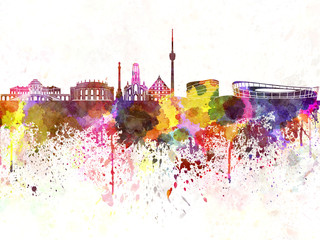 Wall Mural - Stuttgart skyline in watercolor background