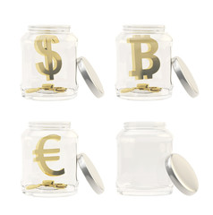 Currency sign with coins in a jar isolated