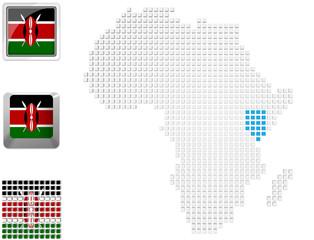 Kenya on map of Africa