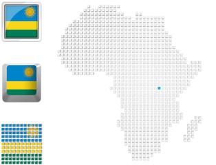 Rwanda on map of Africa