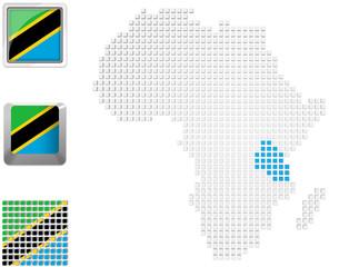 Tanzania on map of Africa