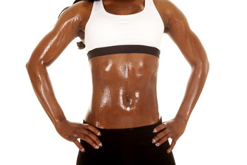 African American woman fitness body white bra close