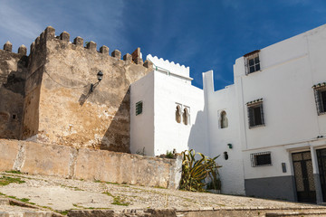 Wall Mural - Ancient fortress and living houses. Madina, old part of Tangier