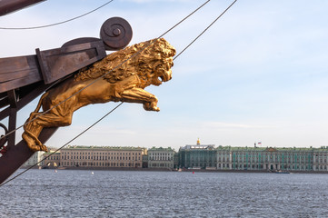 sculpture of lion on ship anchored on Neva River