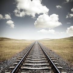 Spoed Fotobehang Spoorlijn Railway Tracks