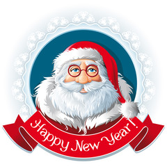 Santa Claus in a frame and ribbon