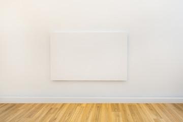 single art canvas in an empty gallery space