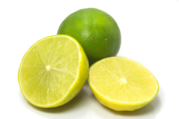 Lemon Fresh lime and slice, Isolated on white background