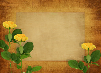 horizontal old blank card for congratulation with three yellow r
