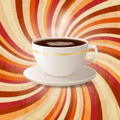 Coffee on retro twirl background