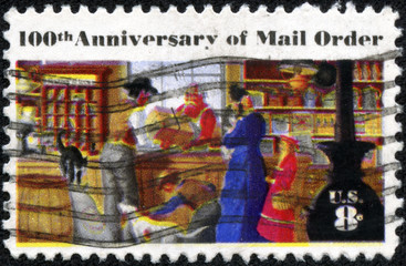 stamp printed in the USA, centenary of mail order business