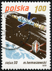 stamp printed in Poland shows Soyuz-30 and Salyut-6
