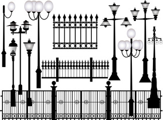 street lamps and fences collection isolated on white