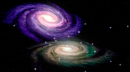 Wall Mural - Two Spiral Galaxys