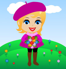 amusing merry girl with flowers in hands