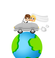 groom with fiancee go in a trip on a car round earth