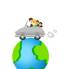 family goes in a trip on a car round earth
