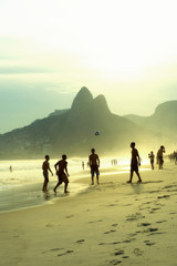 Brazilians Playing Altinho Keepy Uppy Beach Football Rio