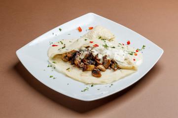 Pancake with mushroom