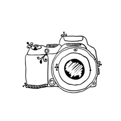 the sketch of a photo camera drawn by hand