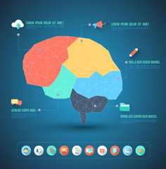 Brain idea geometric info graphics template