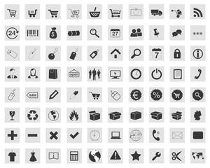 Icon Button Set - Shop Onlineshop Einkaufskorb Liefern Paket