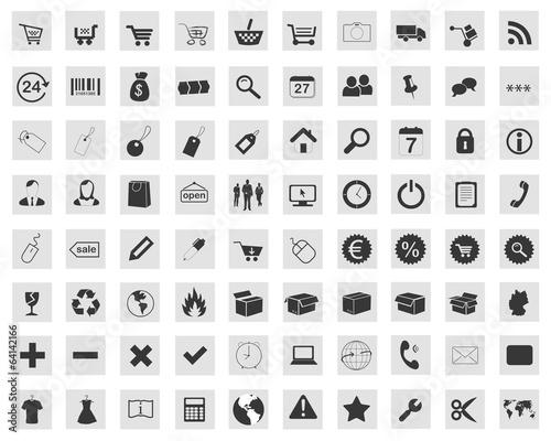 Icon Button Set Shop Onlineshop Einkaufskorb Liefern Paket