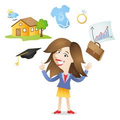Junge Frau, Zukunftspläne, Karriere, Familie, Kinder