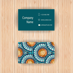 """Vector business cards with """"fish scale"""" design."""