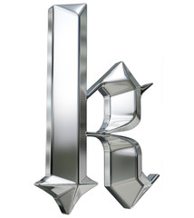 Metallic patterned letter of german gothic alphabet font. Letter