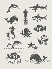 Ocean and sea fishes.Set of simple icons Eps8 vector