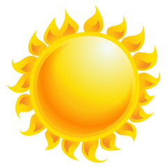 Yellow cartoon vector sun shining isolated in white background