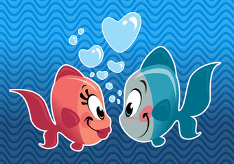Two cartoon cute fishes couple falling in love