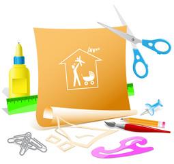 Family home. Paper template. Raster illustration.