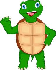 cute green turtle cartoon waving