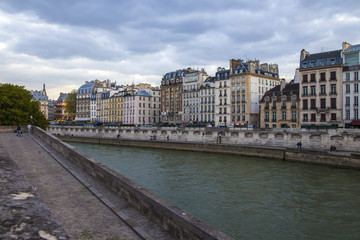 Paris, France. April 29, 2013 . Seine River , view of waterfront
