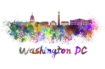 Fotomurales - Washington DC skyline in watercolor