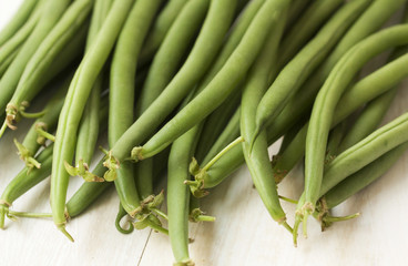 Close up of fresh green string beans