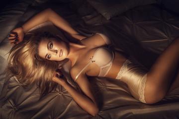 Sexy blonde lady posing