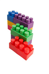 building blocks wall on a white background