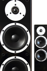 Pair of black high gloss music speakers