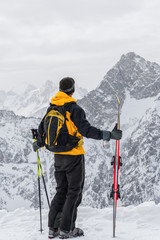 skier admiring the mountains
