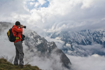 photographer in the mountains