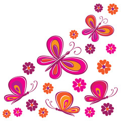 Butterflies and flowers. Vector illustration.